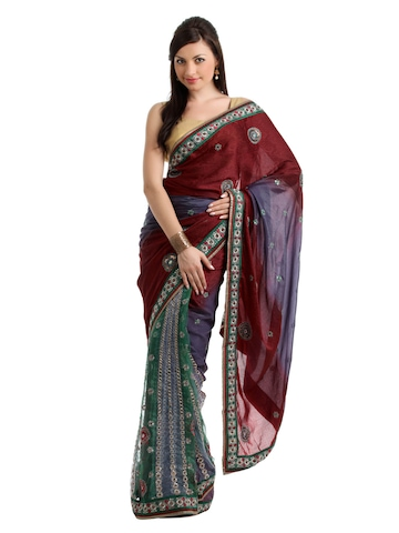 Ambica Red One Minute Sari