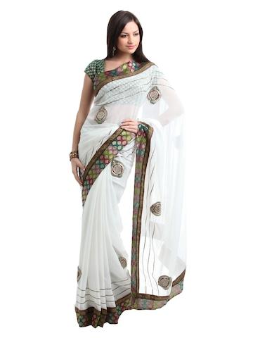 Ambica White Sari