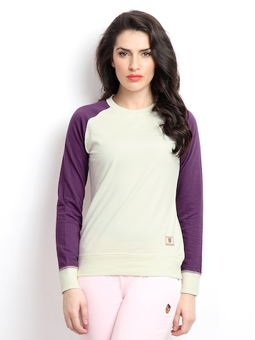 American Swan Women Off-White & Purple Sweatshirt