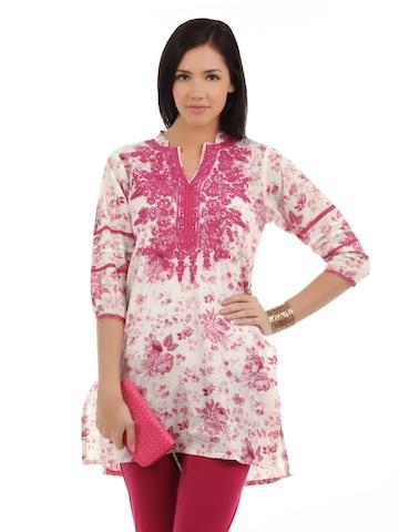 Aneri Women Printed Pink Kurti