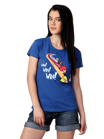 Angry Birds Women Blue T-shirt