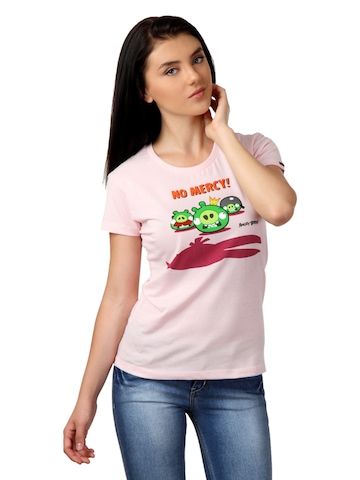 Angry Birds Women Pink T-shirt