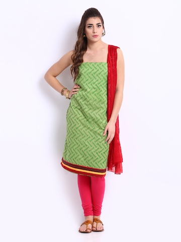 Anouk Green & Red Chanderi Dress Material