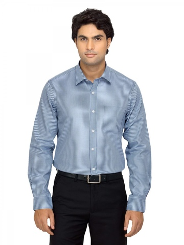 Arrow Men Blue Striped Shirt