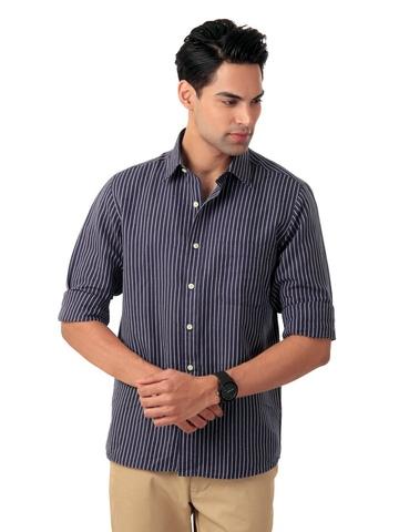 Arrow Men Purple Striped Shirt