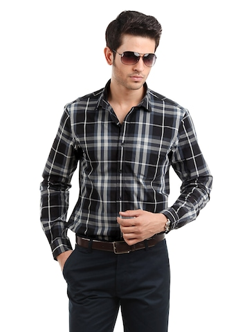 Arrow New York Men Black Check Shirt