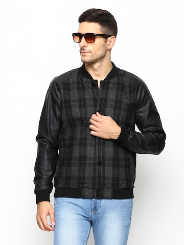 Arrow New York Men Black & Grey Checked Jacket at myntra