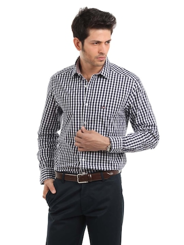 Arrow Sport Men Navy Blue Check Slim Fit Shirt