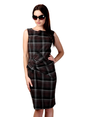 Avirate Brown & Grey Check Dress