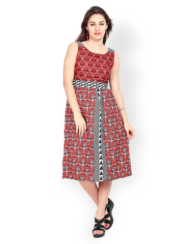 Avirate Multicoloured Printed Midi Dress at myntra