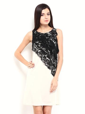 Avirate Beige Lace Semiformal Shift Dress at myntra