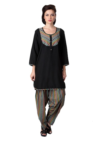 Ayaany Women Black Patiala Kurta Set