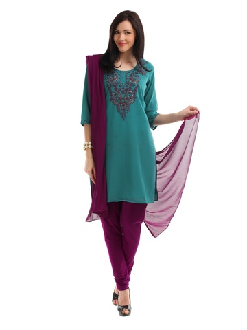 Ayaany Women Teal & Purple Embroidered Salwar Suit