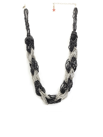 Ayesha Women Black & Silver Interlinked Bead Necklace