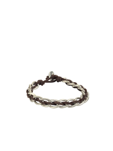 Unknown by Ayesha Men Brown Leather Bracelet