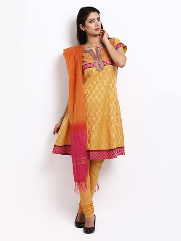 BIBA Women Yellow & Pink Churidar Kurta with Dupatta