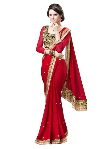 Bahubali Red Chiffon Fashion Saree at myntra