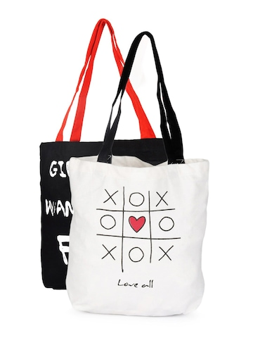 Be For Bag Women Black and White Combo pack Tote Bags