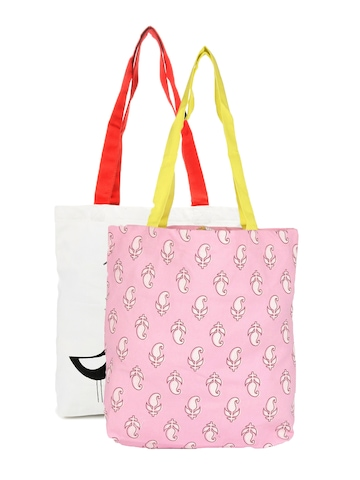 Be For Bag Women White and Pink Combo pack Tote Bags