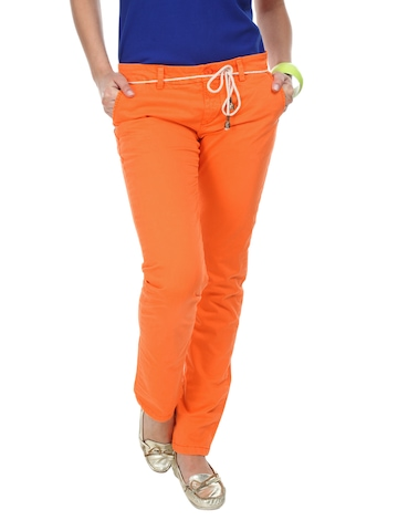 Being Human Clothing Women Orange Slim Fit Chino Trousers at myntra