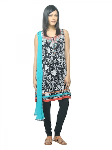 Biba Women Printed Black Salwar Suit