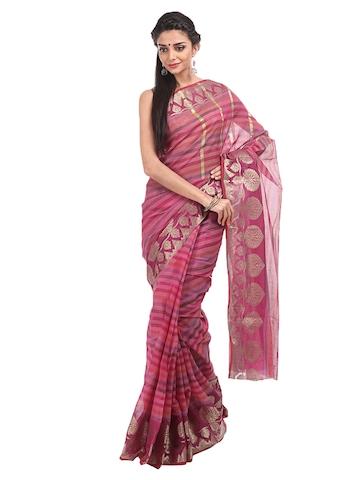 Bunkar Pink Chanderi Banarasi Traditional Saree