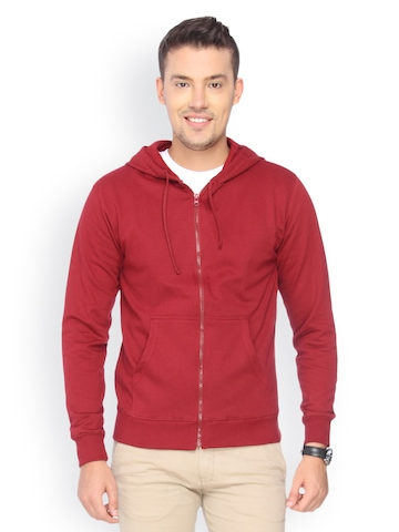 Campus Sutra Men Pack of 2 Maroon Hooded Sweatshirts at myntra