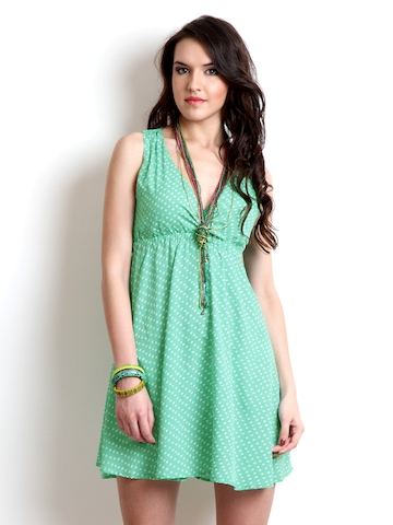 Chemistry Green Printed Fit & Flare Dress