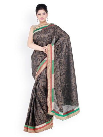 Chhabra 555 Black Printed Tassar Silk Fashion Saree at myntra