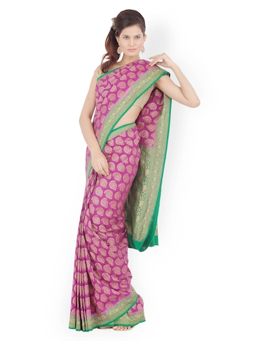 Chhabra 555 Purple Embroidered Georgette Fashion Saree available at Myntra for Rs.12000