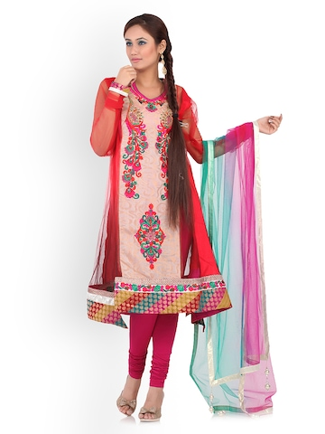 Chhabra 555 Red & Pink Nylon Unstitched Dress Material at myntra