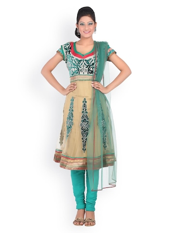 Chhabra 555 Beige & Green Embroidered Nylon Supernet Unstitched Anarkali Dress Material at myntra