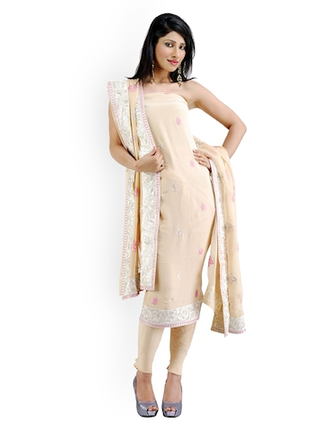 Chhabra 555 Beige Embroidered Crepe Unstitched Dress Material at myntra