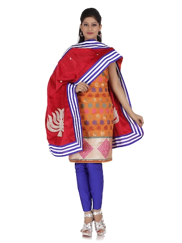 Chhabra 555 Women Mustard Orange & Navy Brasso Dress Material at myntra