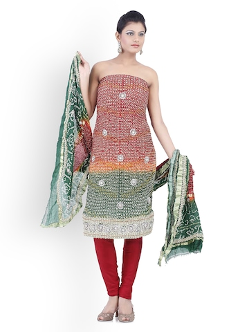 Chhabra 555 Red & Green Georgette Unstitched Dress Material at myntra