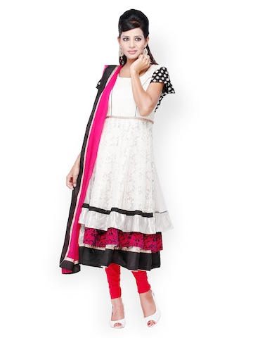 Chhabra 555 White & Red Embroidered Net Anarkali Churidar Kurta with Dupatta at myntra