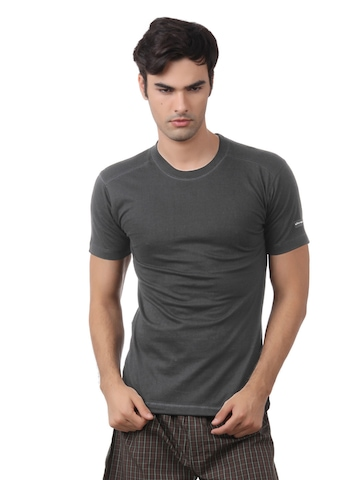 Chromozome Men Charcoal Melange Innerwear T-shirt