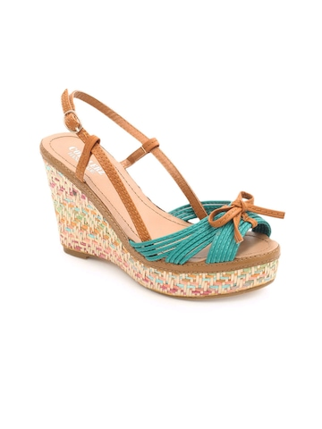 Cobblerz Women Teal Blue & Brown Wedges