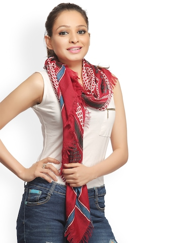 CoolThreads Women Red Printed Scarf at myntra