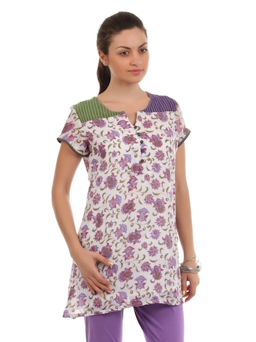 Diva Women Purple & White Kurta