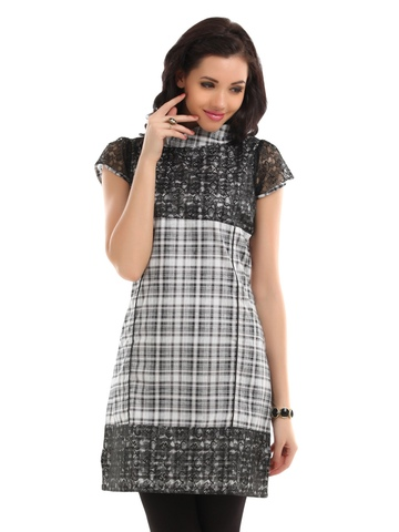 Desi Vibe Women Black & White Check Lace Kurta
