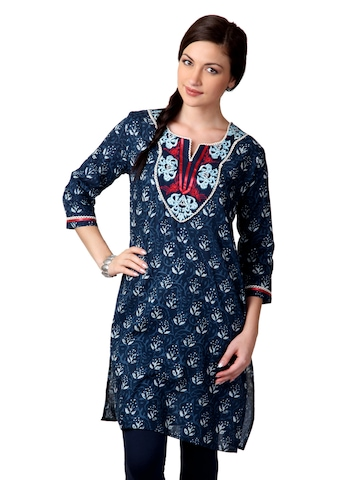 Dhwani Women Navy Blue Kurta