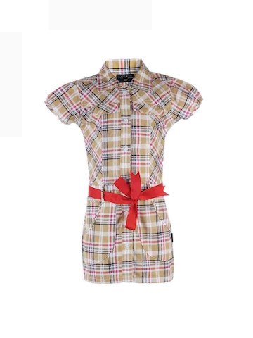 Doodle Girls Beige Check Shirt Dress