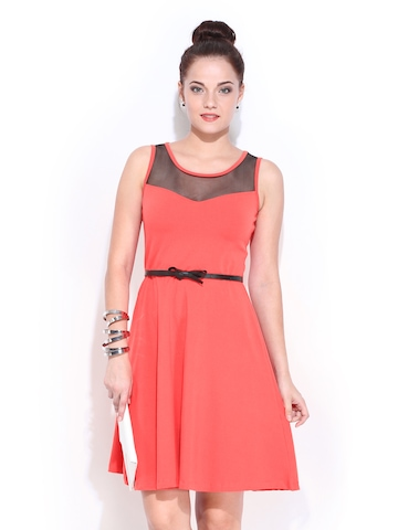 DressBerry Coral Red Flare Berry Dress