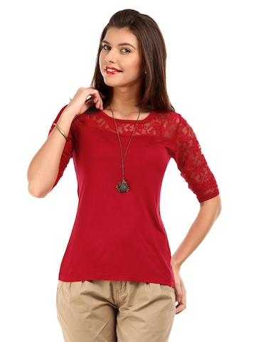 DressBerry Women Red Lace Shoulder Knit Top