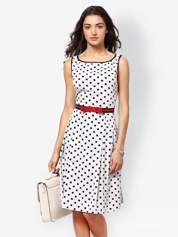 Eavan White Polka Dot Printed Fit & Flare Dress