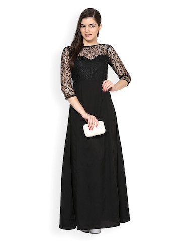 Eavan Black Lace Maxi Dress at myntra