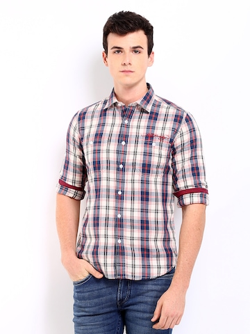 Ed Hardy Men Off-White & Blue Checked Casual Shirt at myntra