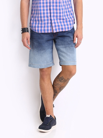Ed Hardy Men Blue Denim Shorts at myntra
