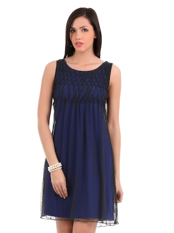 Elle Women Blue & Black Dress